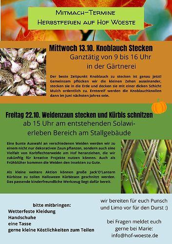 Mitmach-Termine Herbstferien auf Hof Woeste